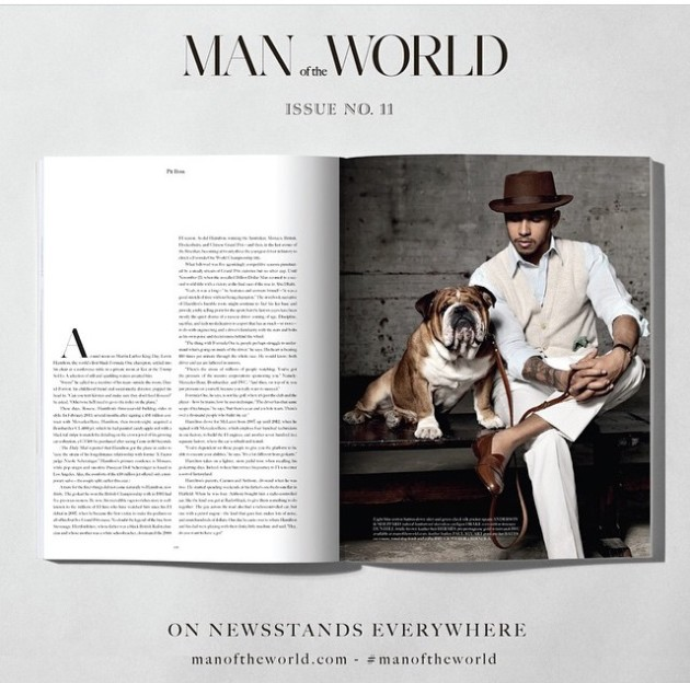 Lewis Hamilton for Man of the World magazine wearing Anderson and Sheppard (2)