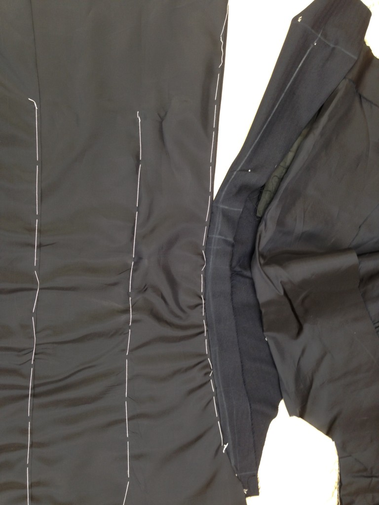Anderson & Sheppard Bespoke side seams and back lining. Savile Row (1)