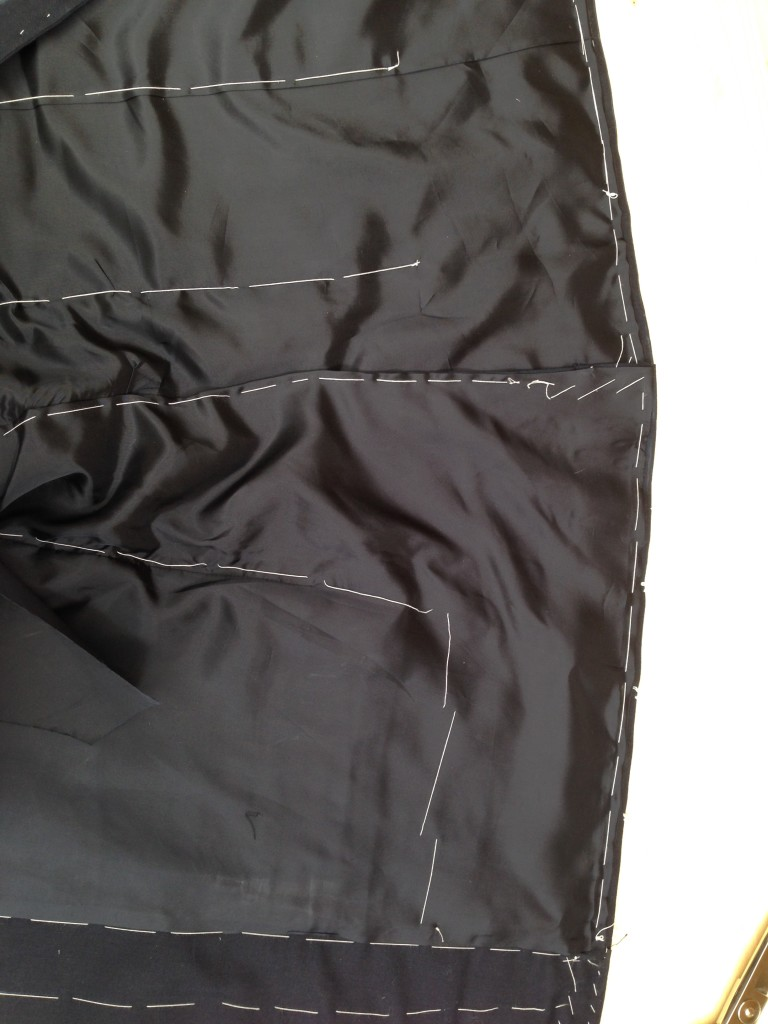 Anderson & Sheppard Bespoke side seams and back lining. Savile Row (6)
