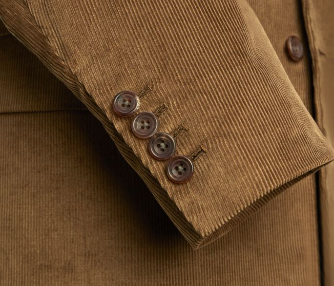 Single breasted fawn corduroy jacket by Anderson & Sheppard: buttons details. Savile row bespoke tailors.