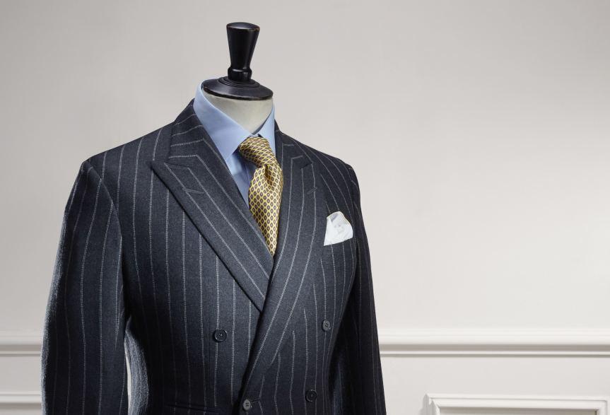 Chalk stripe jacket by Anderson & Sheppard: lapel detail. Savile Row bespoke tailors