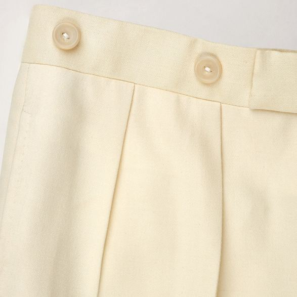 Anderson & Sheppard Bespoke Gallery Cream Trousers Button Detail Bespoke Savile Row Tailors