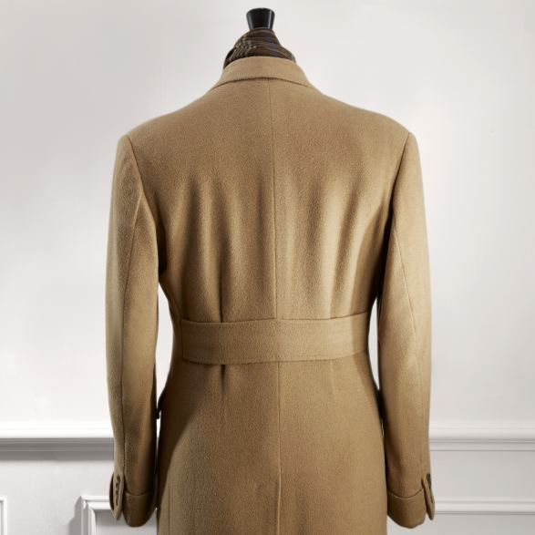 Anderson & Sheppard Bespoke Gallery Camel Overcoat Back Detail Savile Row Bespoke Tailors