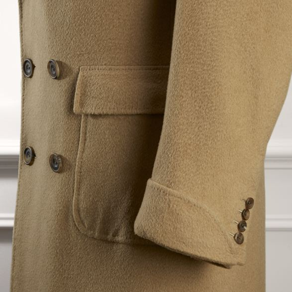 Anderson & Sheppard Bespoke Gallery Camel Overcoat Pocket and Sleeve Detail Savile Row Tailors