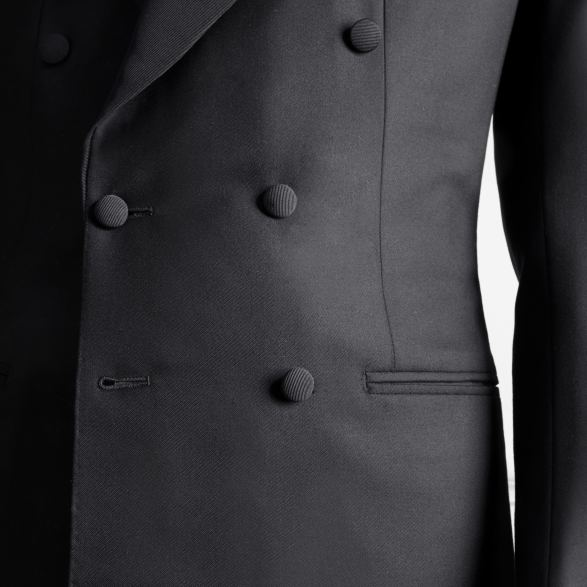 Anderson & Sheppard Bespoke Gallery Dinner Jacket Chest Button Detail Savile Row Bespoke Tailors