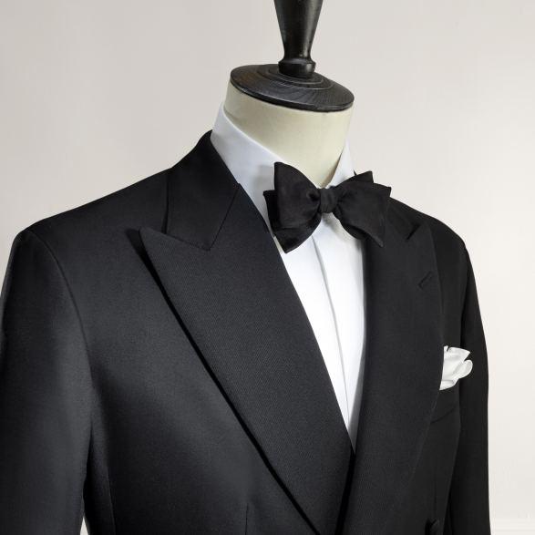 Anderson & Sheppard Bespoke Gallery Dinner Jacket Lapel Detail Savile Row Bespoke Tailors