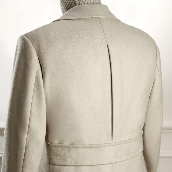 Anderson & Sheppard Bespoke Gallery Ivory Peacoat Back Detail Savile Row Bespoke Tailors