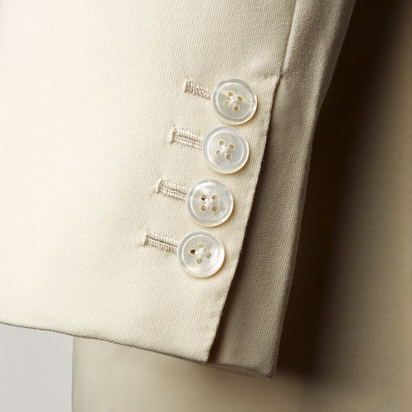 Double-breasted jacket in Cream linen by Anderson & Sheppard: Buttons. Savile Row bespoke tailors