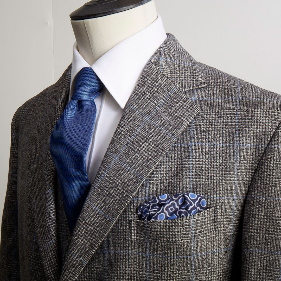 Cotton and cashmere shirt, silk tie and cotton pocket square all from our haberdashery shop.