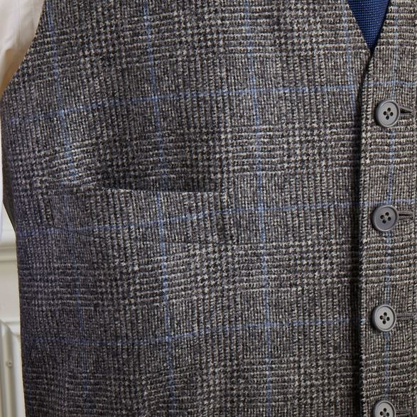 Single breasted glen check jacket with a waistcoat by Anderson & Sheppard: Waistcoat detail. Savile row bespoke tailors