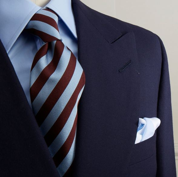 Navy double breasted blazer with brass buttons by Anderson & Sheppard: lapel and pocket detail. Bespoke Savile Row tailors