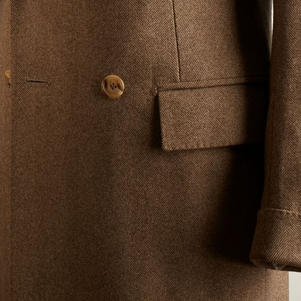 Anderson-&-Sheppard-Fawn-Bespoke-Double-Breasted-Overcoat-Detail Savile Row Bespoke Tailors
