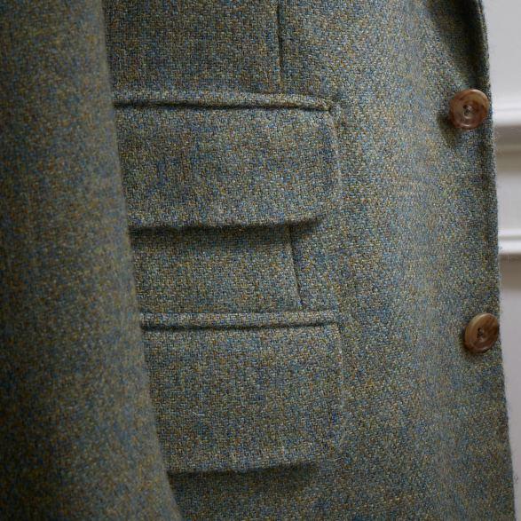 Pocket detail. Single breasted jacket in Shetland tweed by Anderson & Sheppard. Savile Row tailors