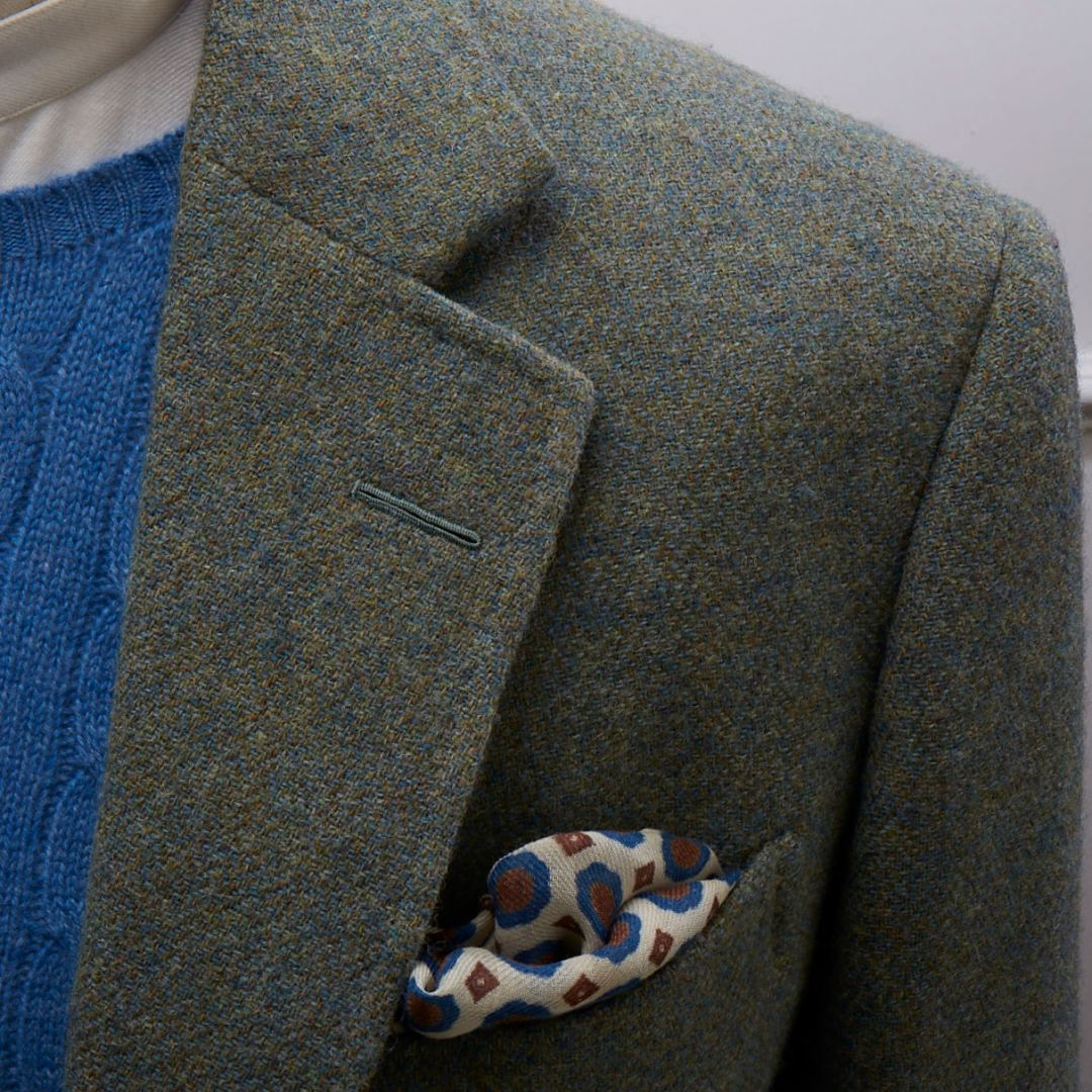 Collarless shirt, cashmere sweater and woollen pocket square all from our haberdashery shop.