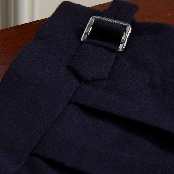 Navy Flannel double breasted suit by Anderson & Sheppard: Bespoke Trouser Detail. Bespoke savile row tailors