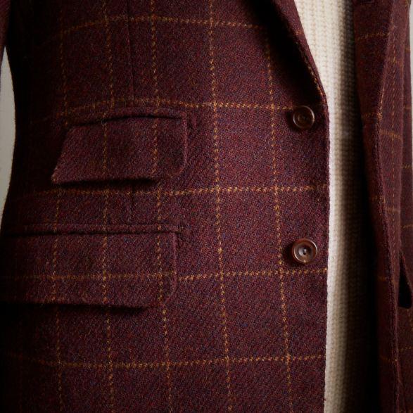Burgundy tweed bespoke single breasted jacket by Anderson & Sheppard: Pocket and ticket pocket details.