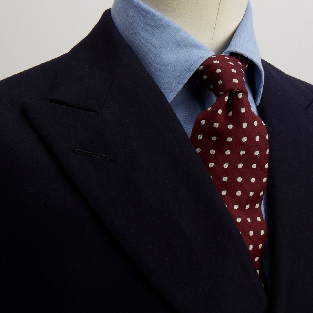 Cotton and cashmere shirt, woollen tie and cotton pocket square from our haberdashery shop.