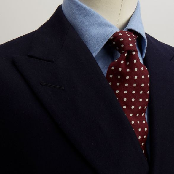 Navy flannel double breasted jacket by Anderson & Sheppard: lapel detail. Bespoke Savile row tailors.
