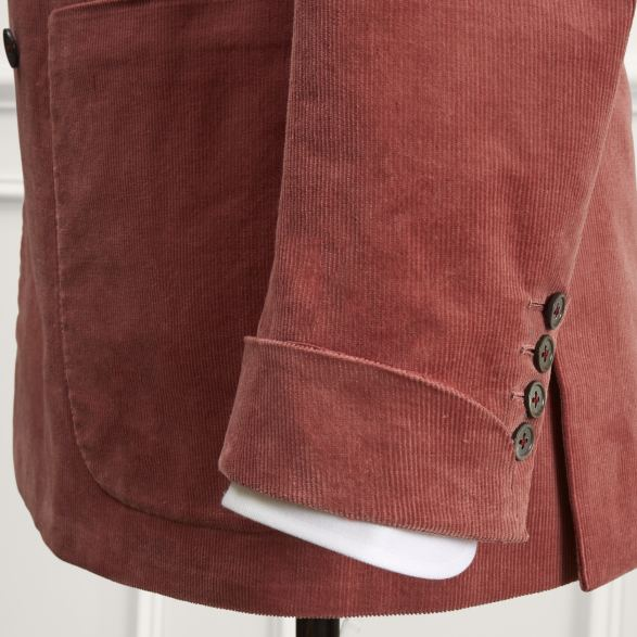Anderson & Sheppard Bespoke Savile Row Tailors Antique Pink Corduroy Suit Cuff Detail