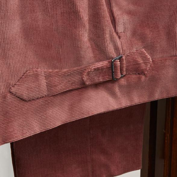 Anderson & Sheppard Bespoke Savile Row Tailors Antique Pink Corduroy Suit Trouser Detail copy