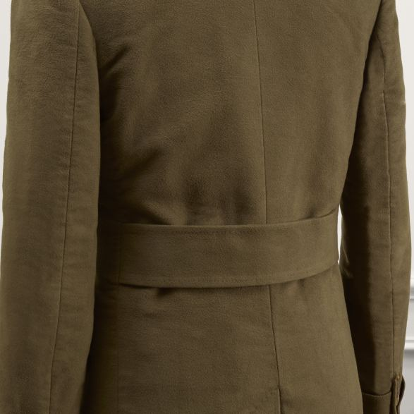 Anderson & Sheppard Bespoke Savile Row Tailors Olive Green Khaki Moleskin Double-Breasted Overcoat Belt Detail