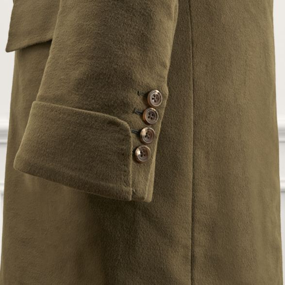 Anderson & Sheppard Bespoke Savile Row Tailors Olive Green Khaki Moleskin Double-Breasted Overcoat Cuff Detaili