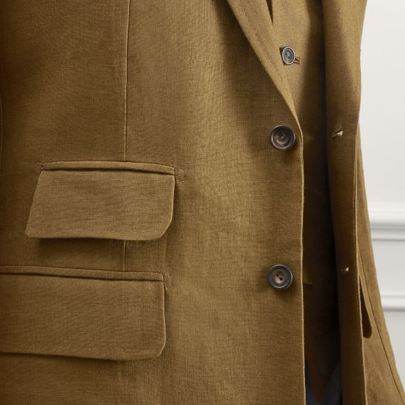 Anderson & Sheppard Bespoke Savile Row Tailors Tobacco Linen Three-Piece Single Breasted Suit Ticket Pocket Detail