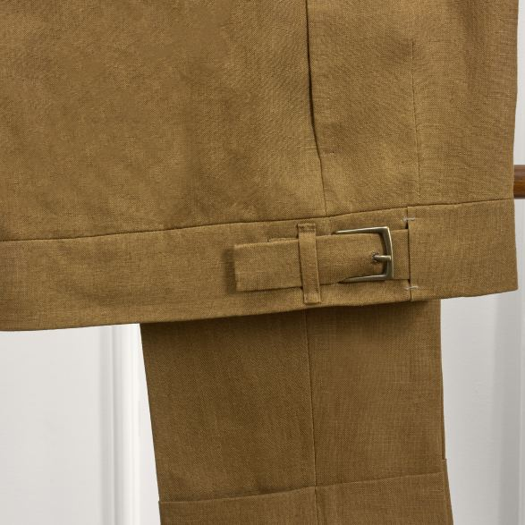 Anderson & Sheppard Bespoke Savile Row Tailors Tobacco Linen Three-Piece Single Breasted Suit Trouser Adjuster Detail