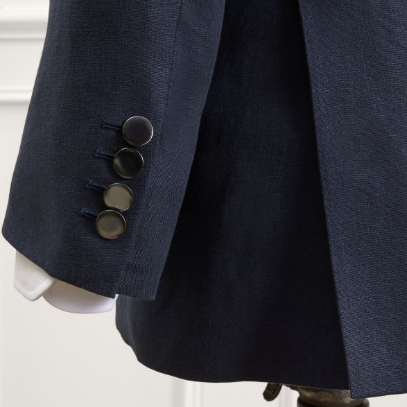 Anderson & Sheppard Bespoke Savile Row Tailors Double-Breasted Navy Linen Blazer WIth Metal Buttons Vent and Cuff Detail