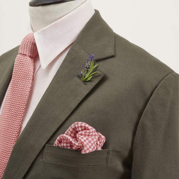 Anderson & Sheppard Bespoke Olive Green Single-Breasted Cotton Suit Lapel Detail