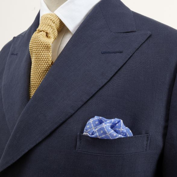 Anderson & Sheppard Bespoke Savile Row Tailors Double-Breasted Navy Linen Blazer WIth Metal Buttons Lapel Detail