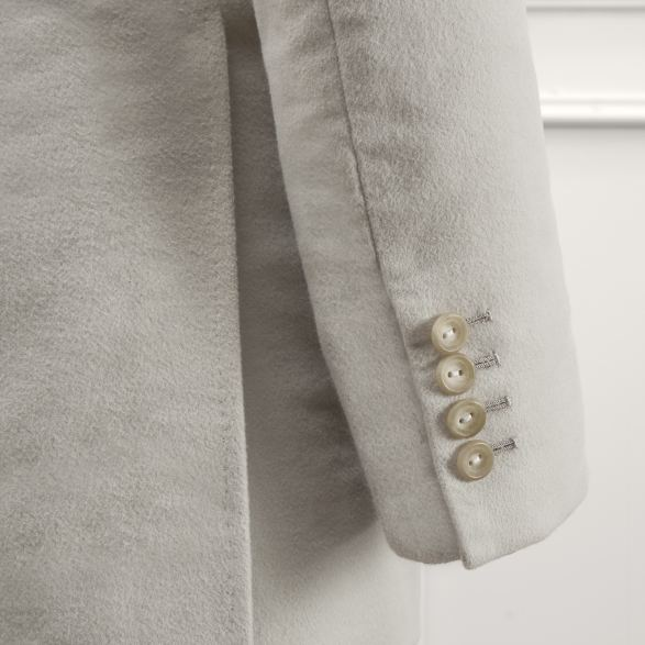 Anderson & Sheppard Bespoke Savile Row Tailors Stone Moleskin Double-Breasted Jacket and Trousers Cuff and Button Detail